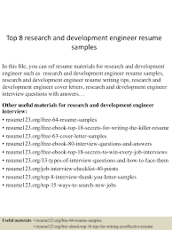 Research Resume Samples Top 8 Research And Development Engineer Resume Samples