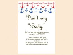 Donu0027t Say Baby Nautical Beach Baby Shower Games Printables Beach Theme Baby Shower Games