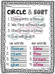 These worksheets help kids learn to use letters to make sounds and words. Long U Search And Sort I Ui I I Ew I And I Ue I Worksheets 99worksheets