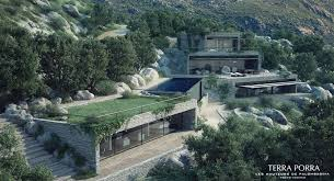 modern mountainside villa with turf roofing interior design ideas