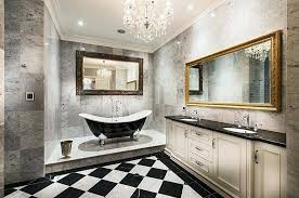 modern bathroom chandeliers view in gallery sparkling chandelier for the black and white bathroom design homes