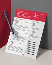 Modern Resume Pdf New Red Modern Double Page Cv Resume