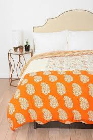 orange paisley block collage duvet cover view full size
