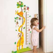 Cartoon Monkey Giraffe Height Ruler Wall Stickers Kids Room Nursery Growth Chart Wall Decals Height Measurement Wall Mural Art Stickers For Decorating