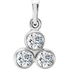 forever one moissanite three stone pendant necklace