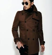 mens wool pea coat with hood brown new autumn winter double ted wool coat men fit slim pea coat woolen mens wool pea coat canada