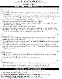 Desktop Support Resume Sample Resume Bank