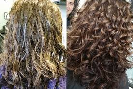 interview hair coloring in accord with keratin treatment on curly hair
