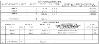 sample bol bill of lading