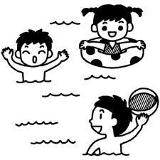 ビーチボール夏休み夏の行事学校無料白黒イラスト素材 夏休み