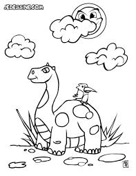 Coloriages Un Dinosaure Et Un Oiseau Fr Hellokids Com
