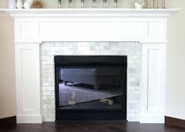 white marble subway tile fireplace ideas surround grey