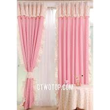 Pink Cute Dreamy Girls Room Printed Polka Dot Curtains With Beige Lace