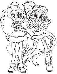Small Picture Equestria girls coloring pages pinkie pie and rainbow dash