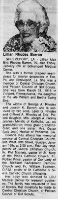 Lillian Mae Bird Rhodes Barron obit, Shreveport, LA, 1995. - Newspapers.com