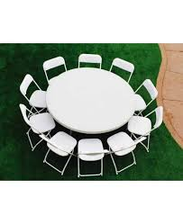 white round party table with 10 chairs package