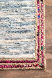 gildads01 handwoven braided border denim rag rug home modern rag rug