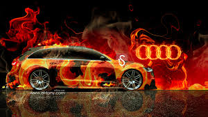 audi a6 avant quattro fire abstract car