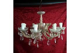 eight branch vintage cut glass chandelier photo 1