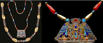 ancient egyptian faience beads as necklaces