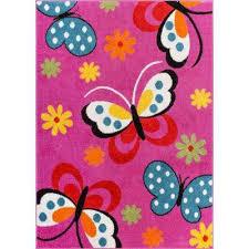 starbright daisy erflies pink 5 ft x 7 ft kids area rug