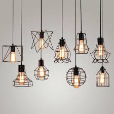 ceiling lamp with cord vintage industrial metal cage pendant light hanging lamp bulb lighting fixture new