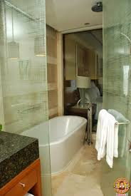 the shower and bathtub are situated together in a communal area making switching from the tub to the shower even easier perfect not just for y time
