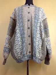 A VINTAGE 1970S Very Rare Iva Knight Pure Wool Cardigan Made In Scotland UK  Lar - £50.00 | PicClick UK