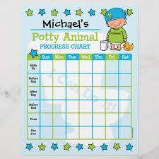Potty Animal Boy Training Chart