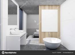 Weiß Aus Holz Badezimmer Und Ein Schlafzimmer Plakat Stockfoto