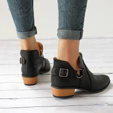 women las leather ankle boots flat casual sandals low heel booties shoes size 12 12 of 12 see more