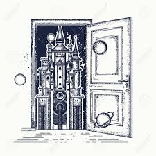 open double door drawing. The Best Open Door And Magic Castle Tattoo Symbol Of Fairy Tale Picture Drawing Trend Style Double