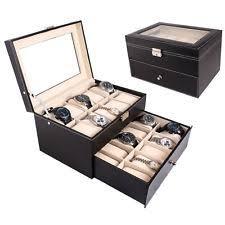 mens watch jewelry box large 20 slot leather men watch box display case organizer glass jewelry storage