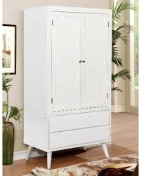 Furniture Of America Corrine MidCentury Modern 2drawer Doubledoor  Bedroom Armoire White Armoire With Drawers H83