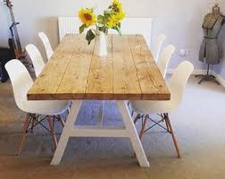 reclaimed industrial chic a frame 6 8 seater dining table white bar cafe restaurant furniture steel solid wood metal made to mere 120