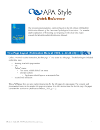 Apa 6th Edition Quick Reference Guide Pages 1 28 Text Version