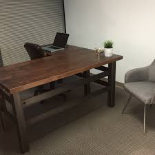 industrial style office desk modern industrial desk. L Shape Brooklyn Industrial Office Desk Combining A Clean Cut Carbon Steel Frame With Maple Butcher Block Surface To Creates Modern Style