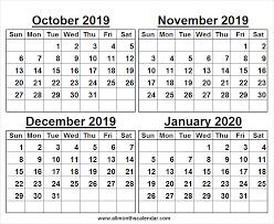 Blank Dec 2020 Calendar October 2019 January 2020 Calendar Printable Free Calendar