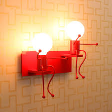 kids wall lighting. Novelty Dolls Kids Wall Light Children Room Red White Color Paint Metal Sconces Modern Lighting 0