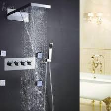 best hot and cold water mixer valve bathroom shower bath accessories faucet kit rain spa shower head massage shower jets set t 161222 under 1454 28