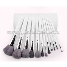 12pcs leather cup holder makeup brush set white makeup brushes 12 pcs with brush holder