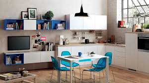 view in gallery a trendy comniation of the kitchen and dining room for the small studio apartment