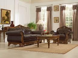 wood trim genuine leather sofa couch