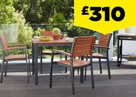 loro wood aluminium 4 seater square stacking garden furniture set