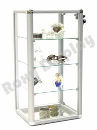countertop jewelry display case with lock mirrored base