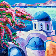 original oil painting showing blue churches and white houses of oia village at santorini island with