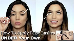 how to apply false lashes under your lashes reverse eyelash trick makeup hack you