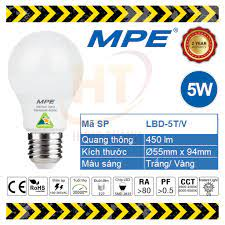 Bóng đèn LED Bulb 5W MPE (Trắng/ Vàng)