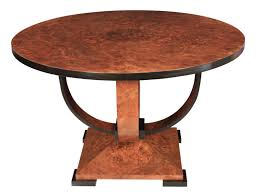 art deco burr walnut round dining table 1 of 7