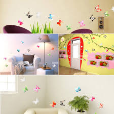 18 pieces 3d butterfly crystal transparent decor sticker home